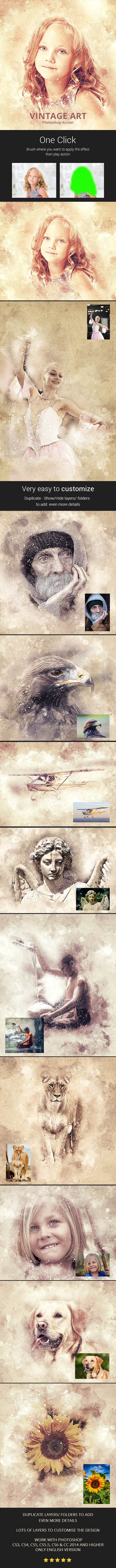 Vintage Art Photoshop Action - Photo Effects Actions