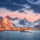 Reine village and snow covered mountains at beautiful sunrise - PhotoDune Item for Sale