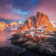 Hamnoy village on the hill at sunrise. Lofoten islands, Norway - PhotoDune Item for Sale