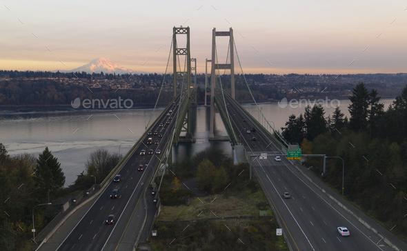 Aerial View Tacoma Narrows Bridges over Puget Sound Mount Rainier - Stock Photo - Images