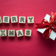 Merry Christmas lettering with holiday greeting gift - PhotoDune Item for Sale
