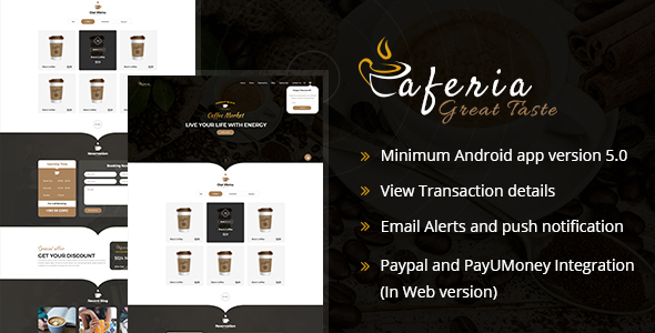 Caferia - Restaurant Food Order and Delivery Web and Mobile App - CodeCanyon Item for Sale