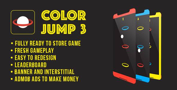 Color Jump 3 - Fun Arcade Game Android Template + easy to reskine + AdMob - CodeCanyon Item for Sale