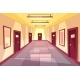 Vector Cartoon Hallway, Corridor with Many Doors - GraphicRiver Item for Sale