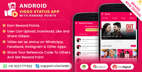 Android Video Status App With Reward Points Nulled