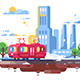 Retro Tram on Cityscape Background - GraphicRiver Item for Sale