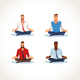 Set of Meditating Business People Flat Vectors - GraphicRiver Item for Sale