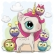 Cartoon Unicorn and Five Owls - GraphicRiver Item for Sale