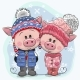Winter Illustration Pigs Boy and Girl in Hats - GraphicRiver Item for Sale