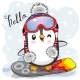 Cartoon Penguin on a Snowboard - GraphicRiver Item for Sale