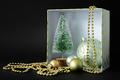 Christmas decoration gift box on black background - PhotoDune Item for Sale