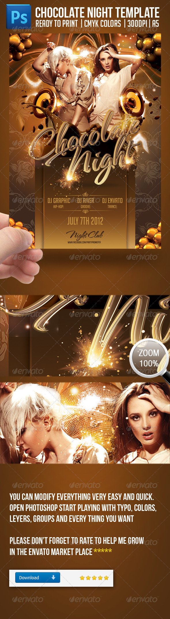 Chocolate Nights Party Flyer Template - Clubs & Parties Events