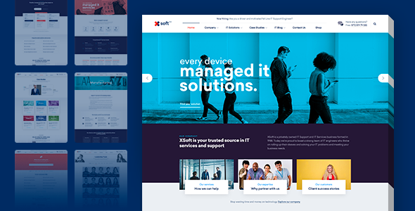 nanosoft wp theme for it solutions and services company by linethemes