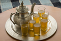 Traditional Moroccan tray with teapot and tea glasses - PhotoDune Item for Sale