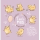 Set of Tiny Yellow Pigs - GraphicRiver Item for Sale