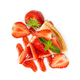 Piece of cheesecake with fresh strawberries and mint. Top view. - PhotoDune Item for Sale