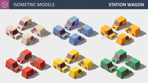 Vector Low Poly Personal Cars Set in Six Colors - Man-made Objects Objects