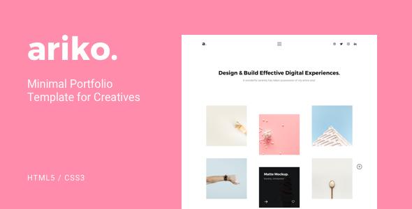 Ariko - Minimal Portfolio Template for Creatives