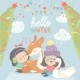 Cartoon Girls with Deer in Winter - GraphicRiver Item for Sale