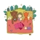 Cartoon Girl Sleeping in Bed - GraphicRiver Item for Sale