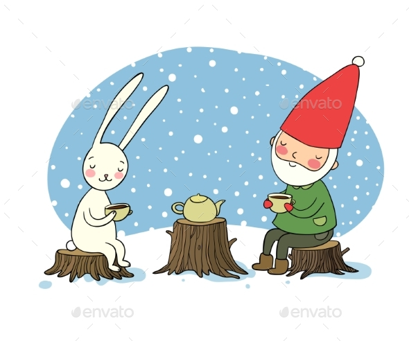 The Gnome and the Hare Drink Tea in the Forest - Miscellaneous Vectors