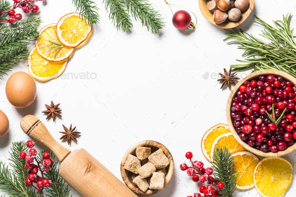 Christmas Top View.Christmas Food Baking Background Top View On White Background