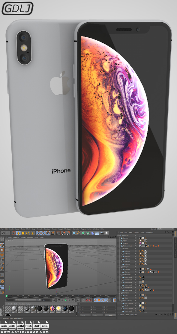 Iphone XS Silver - White - 3DOcean Item for Sale