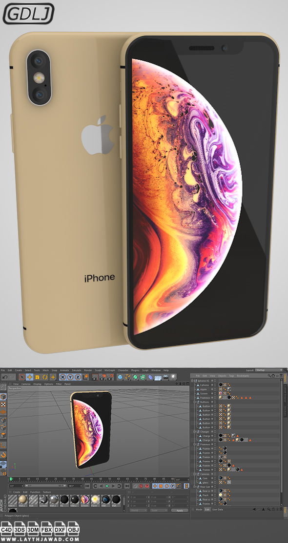 Iphone XS Gold - 3DOcean Item for Sale