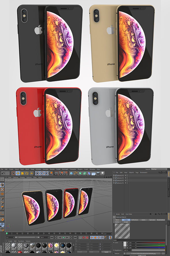 Iphone XS 4 Colors - 3DOcean Item for Sale