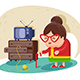 Old Lady with Glasses and Cane Near TV - GraphicRiver Item for Sale