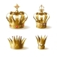 Golden Royal Crowns 3d Realistic Vector Set - GraphicRiver Item for Sale
