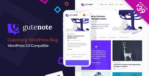 Gutenote - Gutenberg WordPress Blog Theme