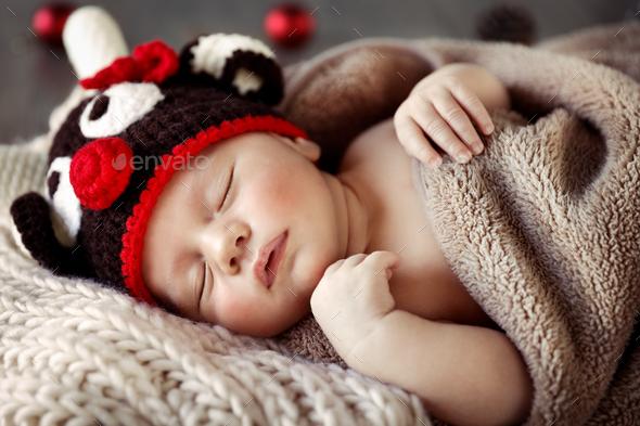 c727f9614 Cute baby sleeping in Christmas pajamas Stock Photo by Anna Om ...