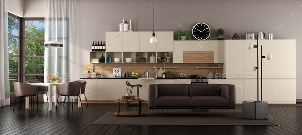 Large living room with kitchen - Stock Photo - Images