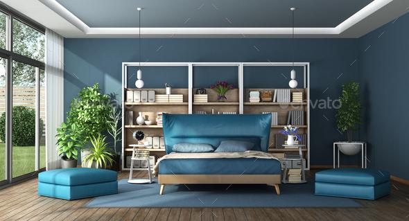 Blue master bedroom in a modern villa