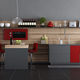 Red and gray contemporary kitchen - PhotoDune Item for Sale