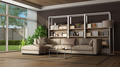 Brown living room with sofa and bookase - PhotoDune Item for Sale