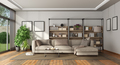 Modern living room with bookcase and sofa - PhotoDune Item for Sale