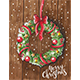 Christmas Wreath on Wooden Door - GraphicRiver Item for Sale