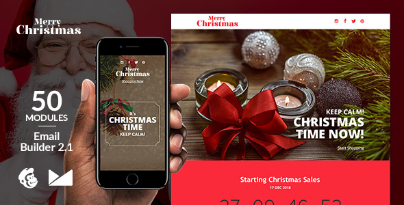 MerryChristmas Email Template + Online Emailbuilder 2.1 - Newsletters Email Templates