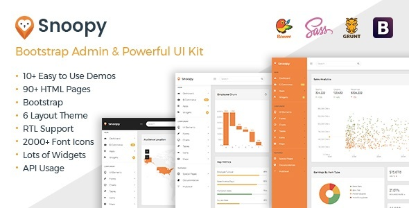 Snoopy - Multipurpose Bootstrap Admin Dashboard Template + UI Kit - Admin Templates Site Templates
