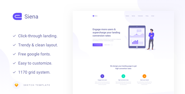 Siena - Marketing Landing Page Template - Sketch Templates