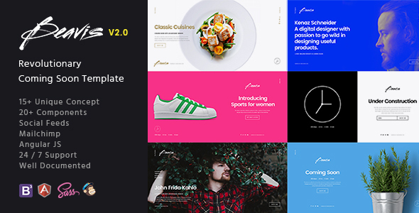 Beavis - Next Level Multi-Concept HTML5 Coming Soon Template - Under Construction Specialty Pages