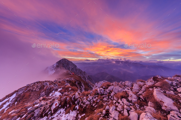 mountain landscape in sunset - Stock Photo - Images