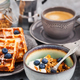 Breakfast table with granola and yogurt, fresh homemade belgian - PhotoDune Item for Sale
