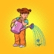 Girl Watering a Flower - GraphicRiver Item for Sale