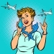 Stewardess at the Airport Talking on the Phone - GraphicRiver Item for Sale