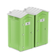 Green portable chemical toilets for males and females on white background - PhotoDune Item for Sale