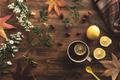 Flat lay rosehip herbal tea in a cup - PhotoDune Item for Sale