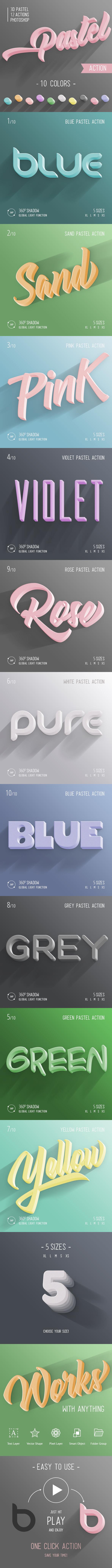 3D Pastel - Photoshop Action